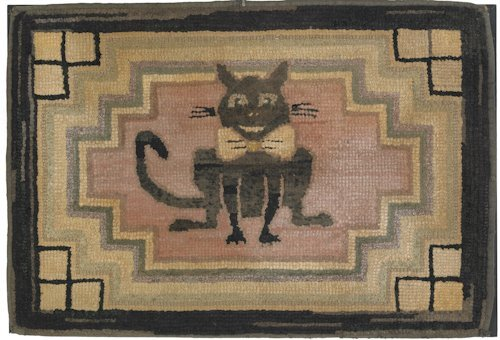 122: American hooked rug, early 20th c., depicting a