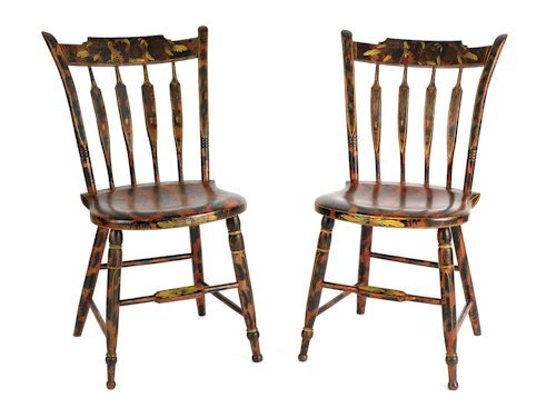126: Pair of New England painted bent arrowback fancy