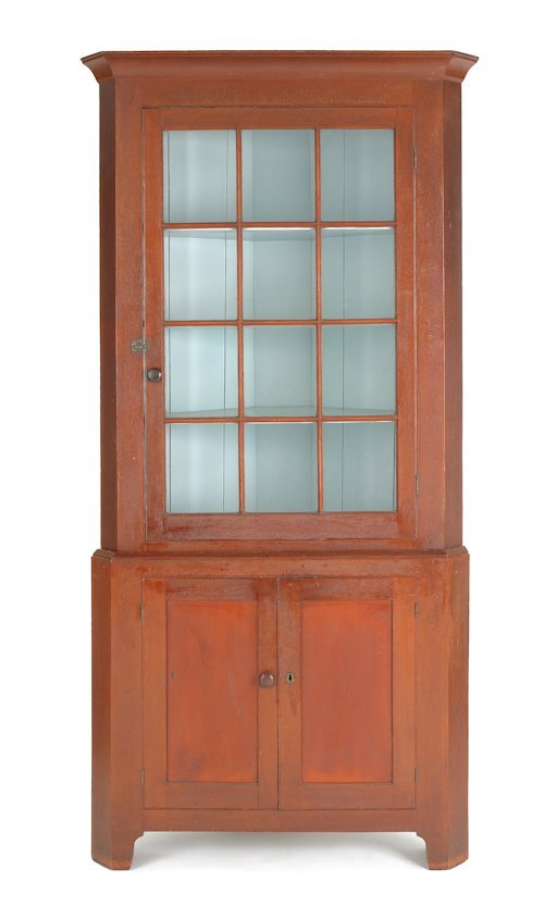128: Pennsylvania stained cherry corner cupboard, ear