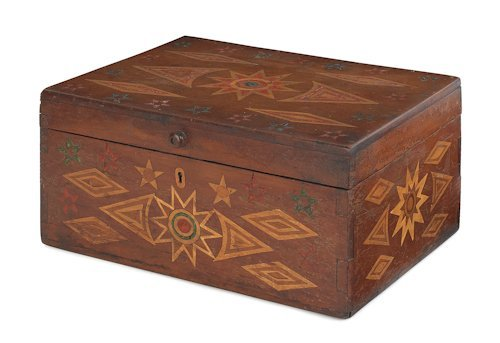 133: Wax and wood inlaid maple sailor's ditty box, mi