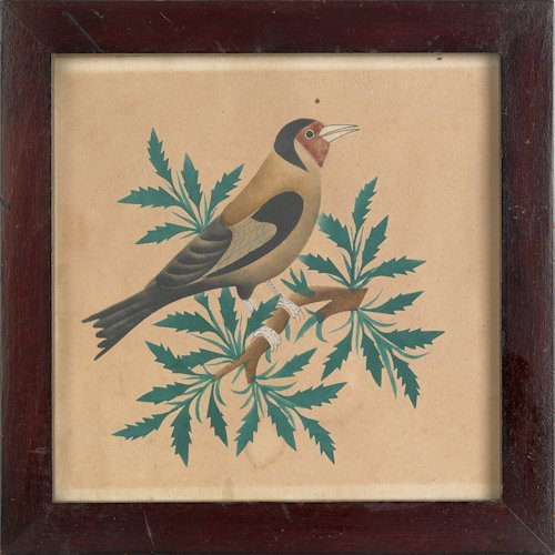 142: Watercolor on paper, late 19th c., of a bird pe