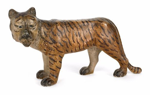 160: American folk art wooden carving of a tiger, lat