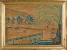 184 Watercolor on velvet theorem memorial inscribe