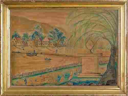 184: Watercolor on velvet theorem memorial, inscribe