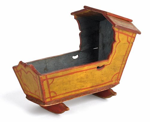 245: Pennsylvania painted miniature cradle, 19th c.,