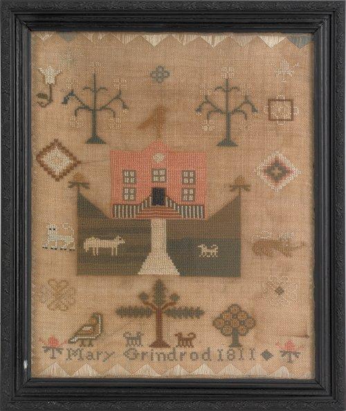 281: Pair of Pennsylvania silk on linen cross stitch