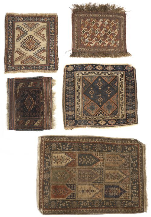 331: Group of five oriental mats, largest - 3'1'' x 2