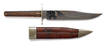 380: English bowie knife, ca. 1851-1900, with antler