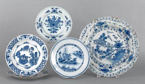5: Four Delft blue and white plates, 18th c., 9'' dia