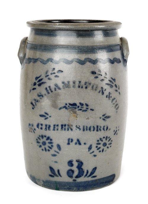 6: Jas. Hamilton three-gallon stoneware crock, 19th