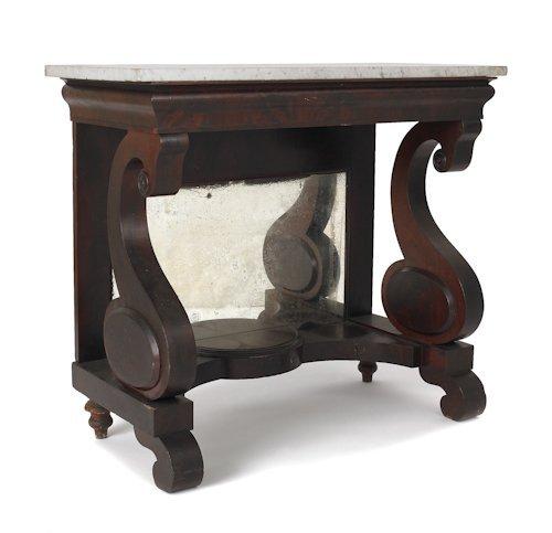 7: Empire mahogany marble top pier table, ca. 1845,
