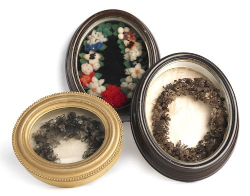 9: Two Victorian hairwork wreaths, together with a f