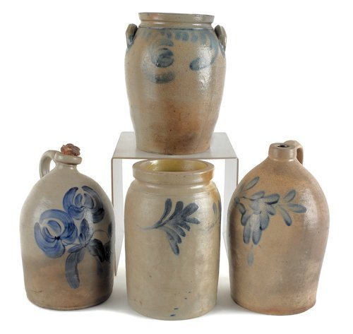 16: Four pieces of cobalt decorated Pennsylvania ston