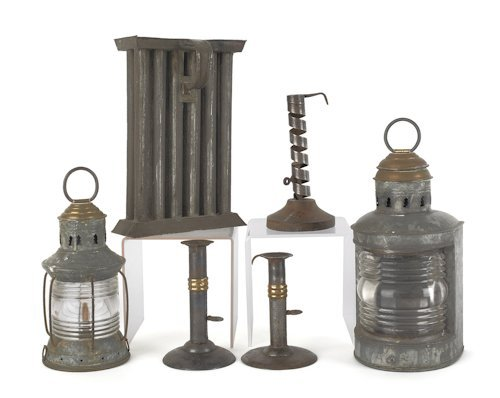 19: Collection of lighting, to include two hogscraper