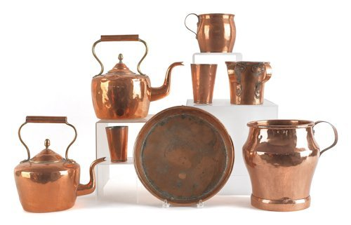 21: Collection of copper, to include two dovetailed k