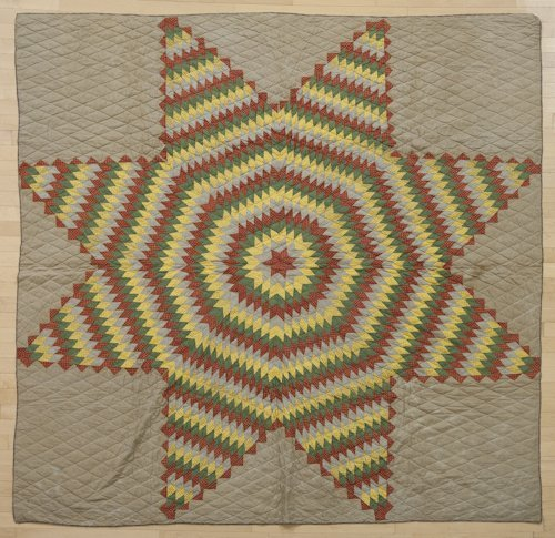 23: Pieced Bethlehem star quilt, late 19th c., signed