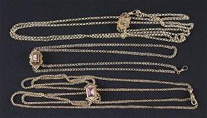 397 Three Victorian slides on chains two goldfilled