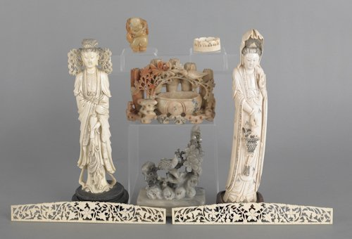 638: Group of Chinese carved ivory and stone, to inclu