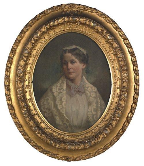 665: Oil on canvas portrait of Hannah Crosman, 14'' x 1