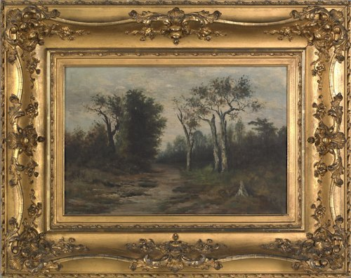 667: Two oil on canvas landscapes, ca. 1900, signed D