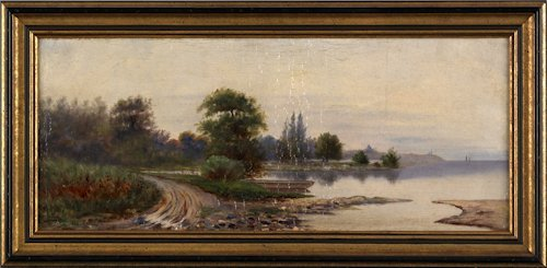 667: Two oil on canvas landscapes, ca. 1900, signed D - 2