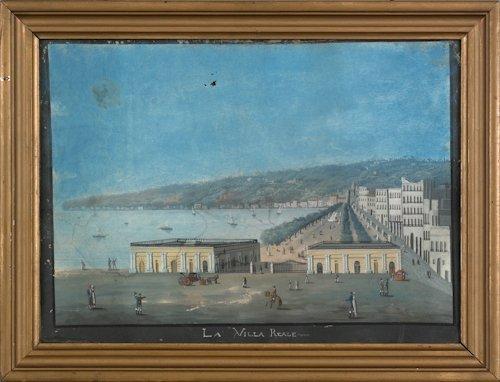 668: Italian gouache landscape, 19th c., titled La Vi