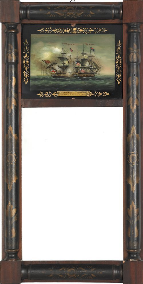 669: Late Federal painted mirror, ca. 1825, with eglom