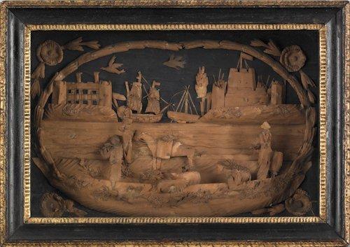 670: Pair of Dutch paper relief village scenes, 19th c