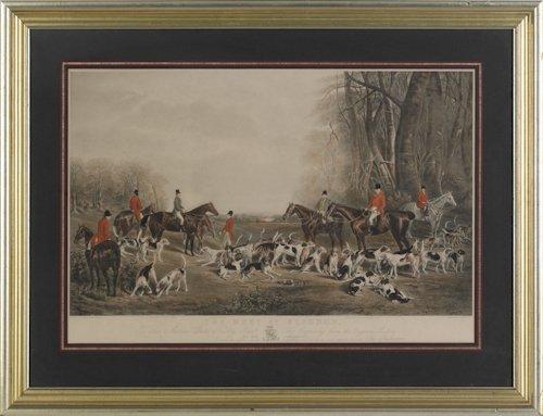 672: Printed fox hunt scene, after J.W. Snow, 17 1/2''