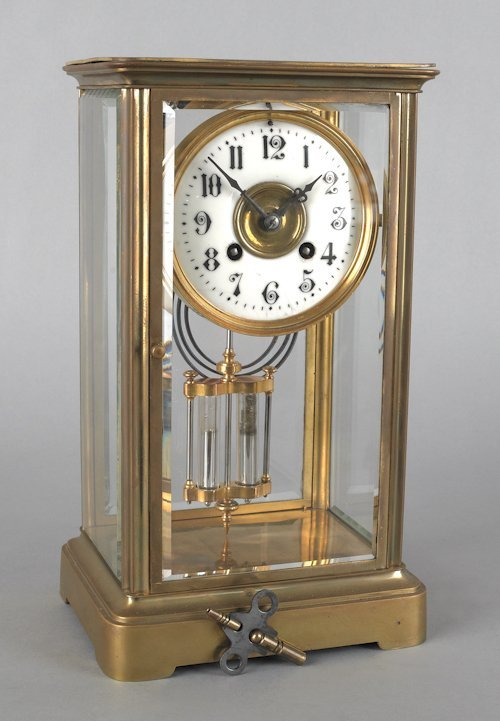 675: French crystal regulator clock, late 19th c., 11