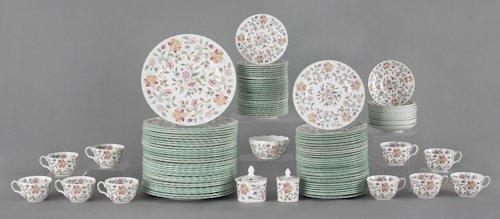 676: Minton porcelain dinner service with floral patte
