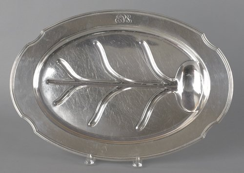 677: Gorham sterling silver well and tree platter, 14''