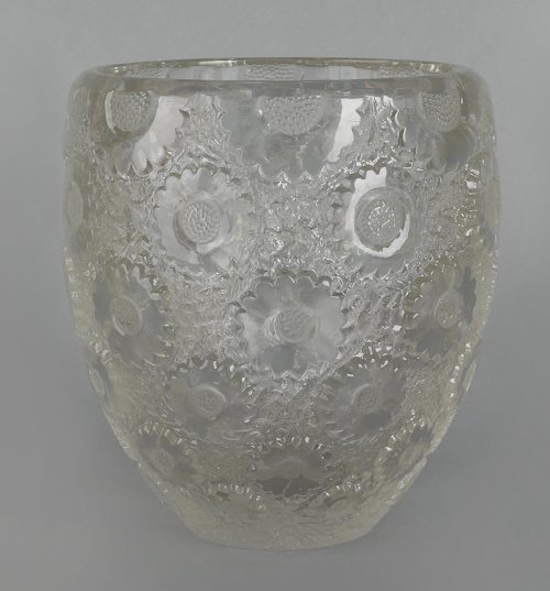 681: Rene Lalique glass vase with overall raised flora