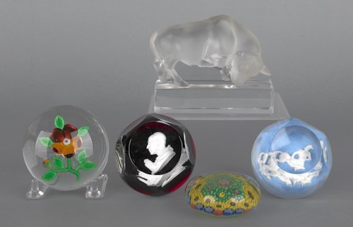 682: Four glass paperweights, to include Baccarat sulf