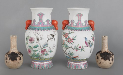 683: Pair of Chinese famille rose porcelain vases, 8 1