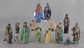 Fourteen Chinese Pottery Figures, Tallest - 9 1/2