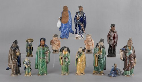 684: Fourteen Chinese pottery figures, tallest - 9 1/2