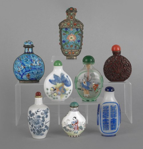 685: Collection of eight Chinese snuff bottles, to inc
