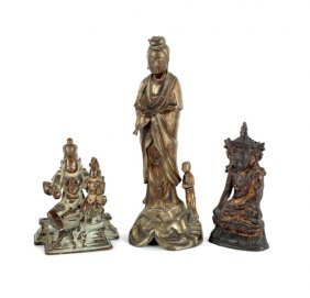 Three Asian Bronze Figures, 8 3/4'' H., 5'' H., 4