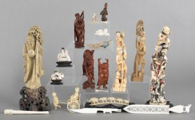 Group Of Chinese And Japanese Carved Figures, To
