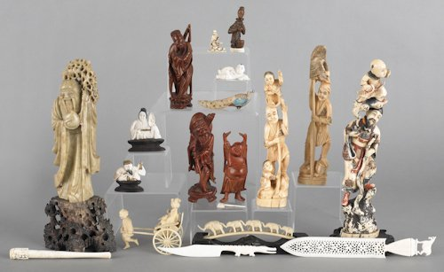 690: Group of Chinese and Japanese carved figures, to