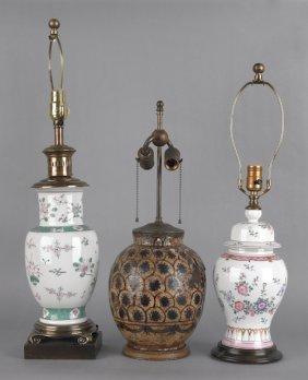 Two Porcelain Table Lamps, Probably Samson, Toget