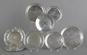 Group Of Sterling Silver Plates, To Include Three