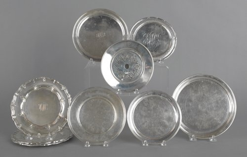 699: Group of sterling silver plates, to include three