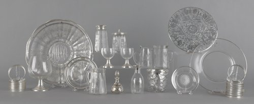 702: Group of silver mounted and silver overlay tablew