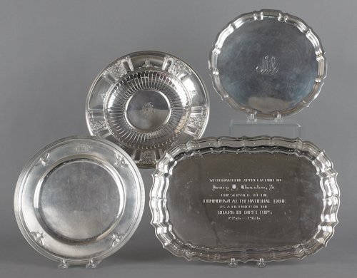 704: Four sterling silver trays, 73.3 ozt.