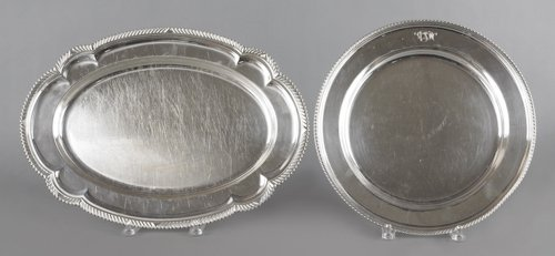 709: Two Gorham silver platters, 13'' l., 18 1/2'' w. a