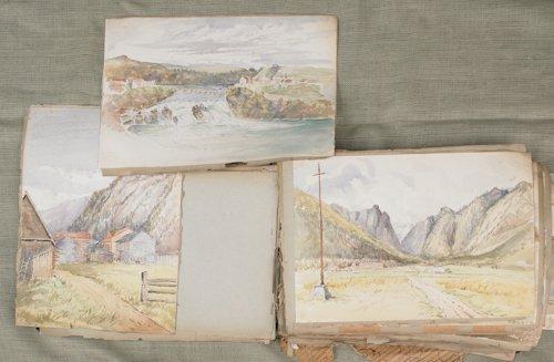 782: Large portfolio of watercolor and gouache landsca