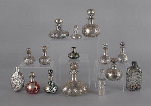 802: Fifteen silver overlay glass bottles, tallest - 1