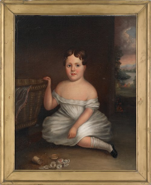 1030: American oil on canvas portrait of a young girl,